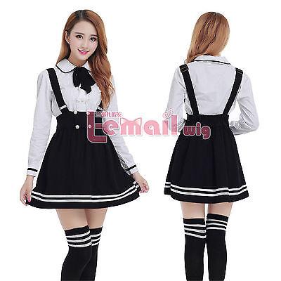 Women School Uniform Dress Long Sleeve Sailor Suit Outfit Cosplay Costumes