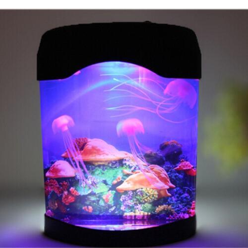LED Jellyfish Aquarium Multi Colored Lighting Fish Tank Mood Night Light Lamp
