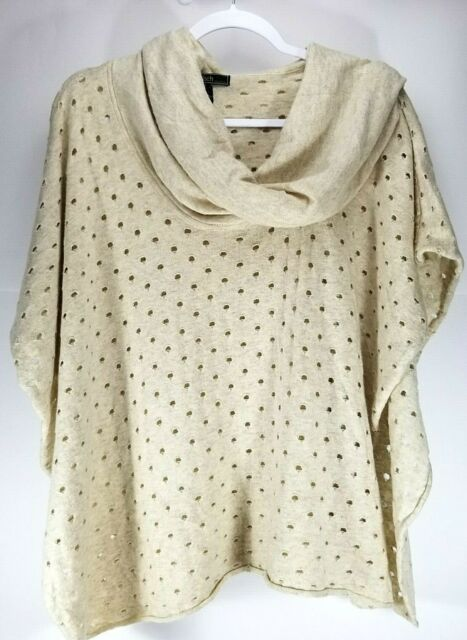 Love Stitch One Size Tan Angora Wool Pullover Cowl Neck Poncho Sweater