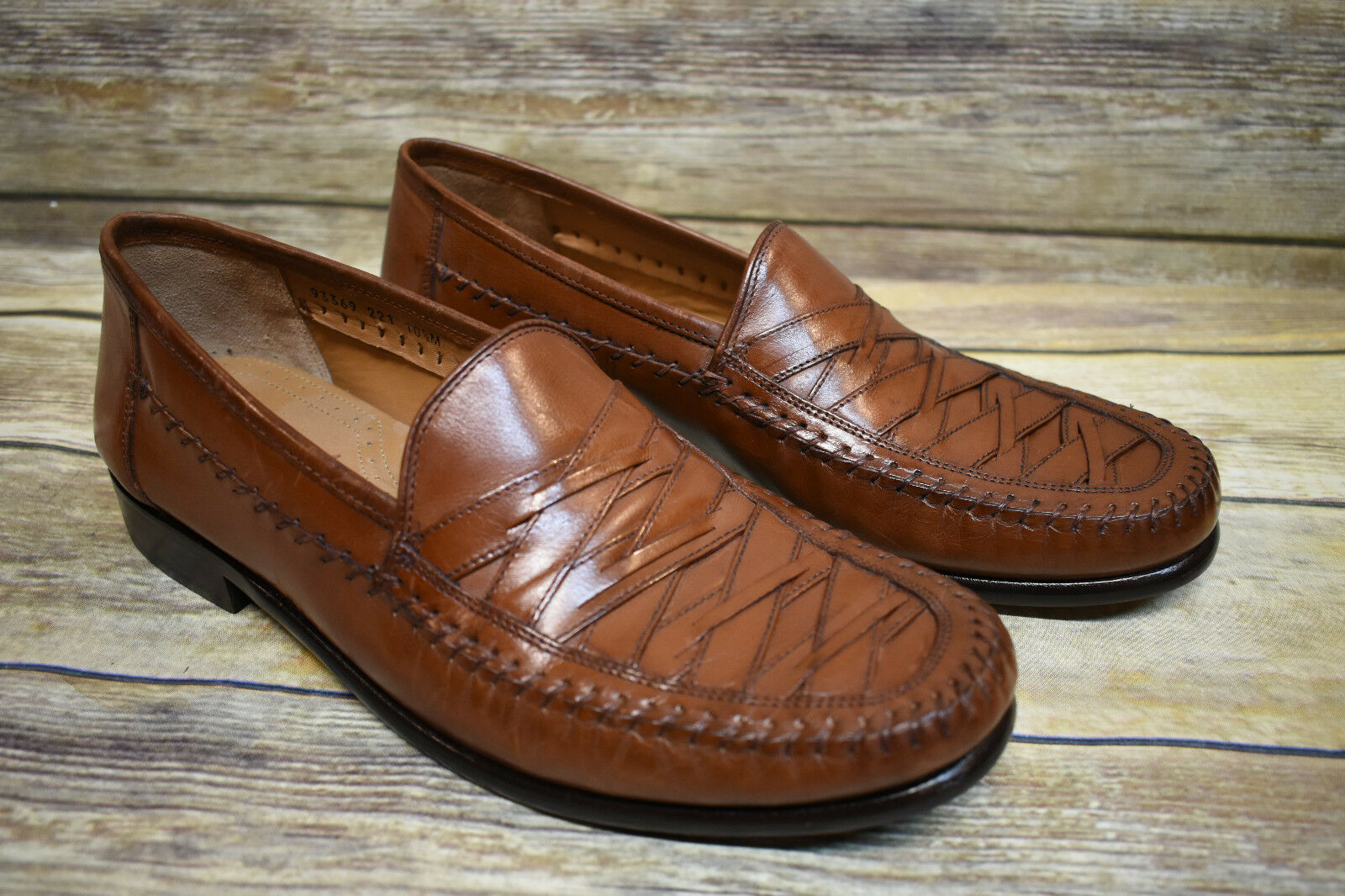Brass Boot Woven Leather Brown Moc Toe Loafers 10.5 M