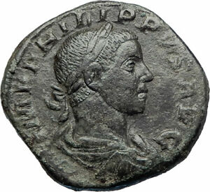 PHILIP-II-as-Augustus-Ancient-247AD-Rome-Sestertius-Ancient-Roman-Coin-i73531