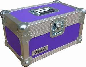 "Flight Case Swan 12/"" Single LP 100 Vinyl Record Box Purple Rigid PVC"