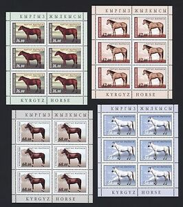 Kirgisien-Kyrgyzstan-2009-Pferde-Horses-Chevaux-592-95-Kleinbogen-minisheet