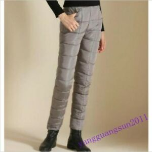 Womens-Warm-Down-Cotton-Pants-Slim-fit-Trousers-Windproof-Straight-Pants-Fashion