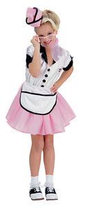 Image is loading Girls-50s-Waitress-Costume-Poodle-Skirt-Soda-Pop-  sc 1 st  eBay & Girls 50s Waitress Costume Poodle Skirt Soda Pop Girl Childs Pink ...
