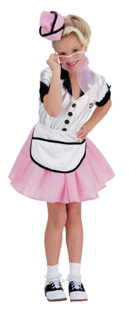 Girls 50s Waitress Costume Poodle Skirt Soda Pop Girl Childs Pink Kids Halloween
