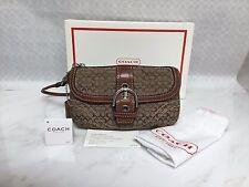 NWT Coach Brown Khaki Soho mini Signature Wristlet Purse Handbag F41515