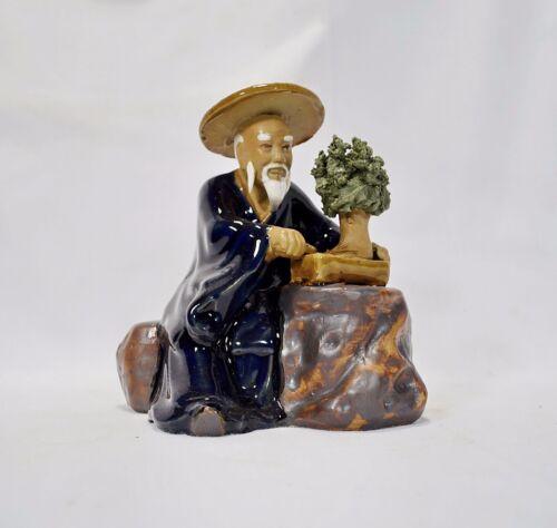 Bonsai Gärtner 7 Figur sehr groß Porzellan Deko Koi Asiatika