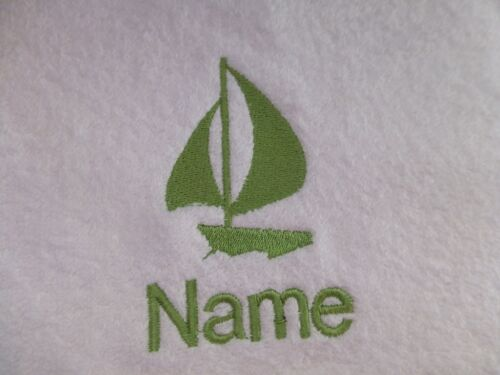 Bath Robes with Personalised name SAILING BOAT Embroidered onto Towels