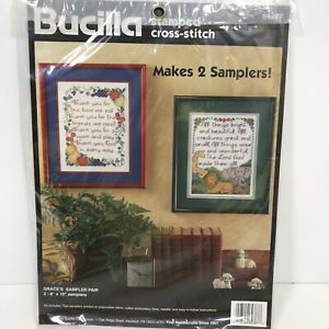 Vtg-Bucilla-Grace-s-Sampler-Pair-Kit-Counted-Cross-Stitch-sz-8x10-Animals-Fruit