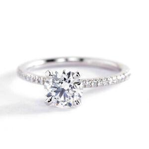 1-20-Karat-SI2-F-Rund-Brillant-Franzoesisch-Diamant-Pave-Verlobungsring-18K-Gold