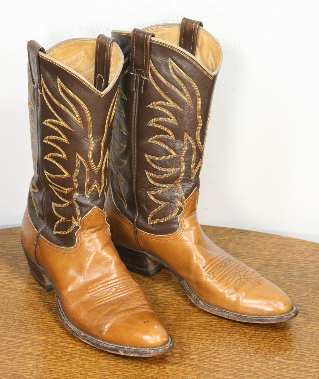 Vintage NOCONA occidental de cuero botas de vaquero. extra ancho estrecho