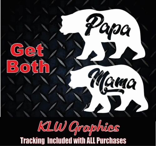 MAMA PAPA BEAR VINYL DECAL CAR BUMPER WINDOW STICKER MOM MOTHER Dad COLORS