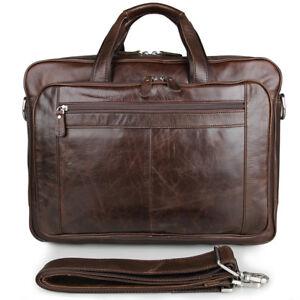 Men-039-s-Real-Leather-Business-Laptop-Bag-Tote-Messenger-Shoulder-Travel-Bag-Coffee