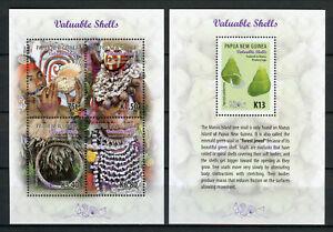 Papua-New-Guinea-2017-MNH-Valuable-Shells-1v-S-S-4v-M-S-Seashells-Stamps