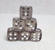 DICE 12mm CHX TL SMOKE w/WHITE PIPS - SET OF SIX! SMALL SIZE, BRONZE-Y SMOKE!