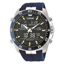LNP rw617ax9 LORUS Gents Dual Display Sveglia Cronografo Cinturino In Resina Orologio