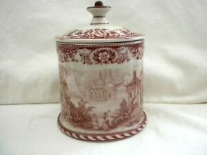 Antique-Porcelain-Tobacco-Humidor-Jar-Unknown-Maker-2-Lions-Shield-Crown-w2s15