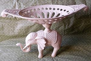 Old Cast Iron Trunk Up Elephant Stand Art Decor W/ Tray On top Center Piece VTG