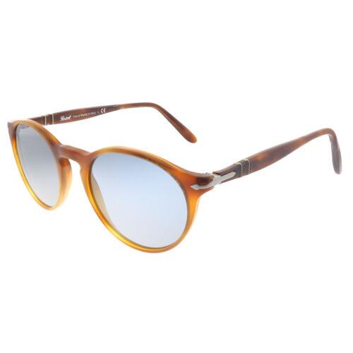 New Persol PO 3092SM 900656 Terra Di Siena Plastic Round Sunglasses Blue Lens