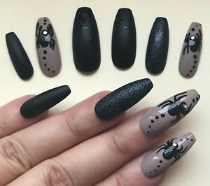 Hand Painted False Nails XL COFFIN - HALLOWEEN Spiders ...
