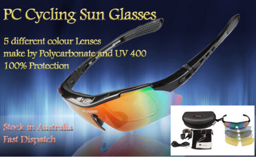 New Cycling Riding Driving Bike Polycarbonate Sun Glasses Sports Goggle 5 Lenses