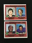 1975 PASSING LEADERS & INTERCEPTION TOPPS VINTAGE FOOTBALL CARDS FRAN TARKENTON