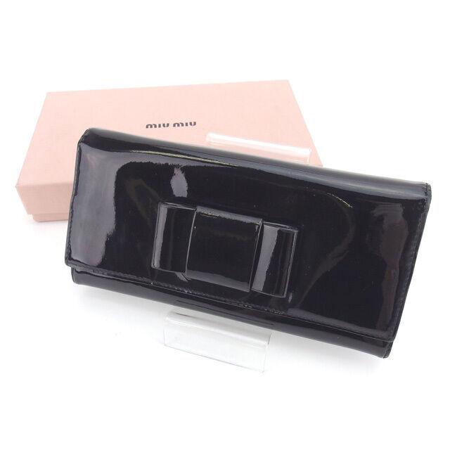 miumiu Wallet Purse Long Wallet Black Purple Woman Authentic Used Y4281