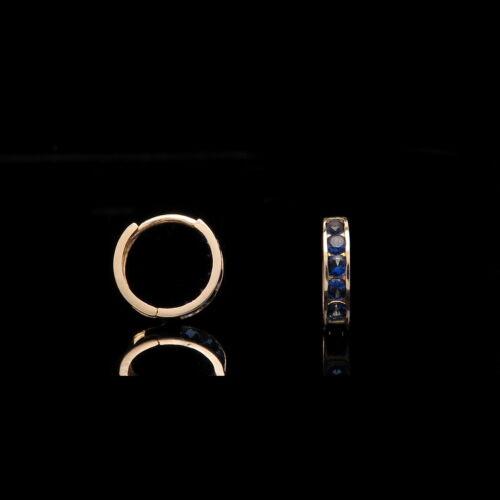 0.20 CT Created Blue Sapphire Kids Huggie Hoop Earrings 14K Solid Yellow Gold