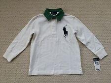 NWT $45 Ralph Lauren Boy's Cream BIG PONY Classic Rugby Top Shirt - Sz. 4 4T