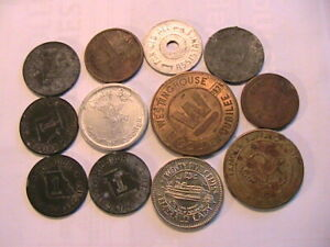 Mixed-Lot-of-12-US-Tokens-Variety-of-Advertising-Tax-Trade-Casino-Exonumia