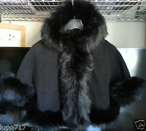 BLACK KIDS GIRLS FLUFFY FAUX FUR HOODED WINTER CAPE COAT PONCHO SZ M 5-7 YRS NEW