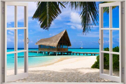 Cheap 3D Window view Exotic Ocean Beach Wall Sticker Film Art Decal Wallpaper S6
