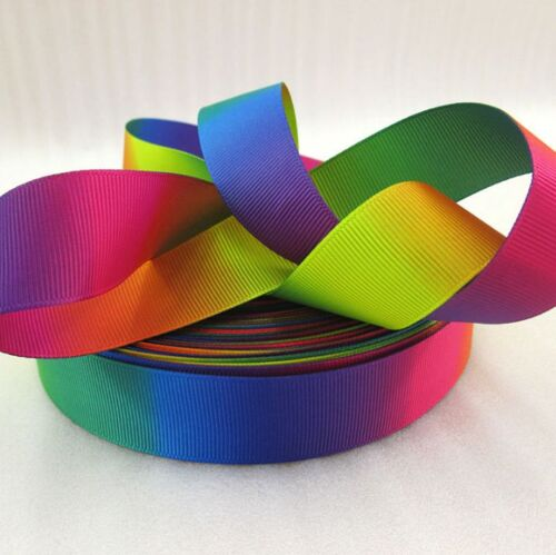 """1 Meter of  RAINBOW PRIDE RIBBON COLOUR FADE 1/"""" 25mm GROSGRAIN DOUBLE SIDED"""