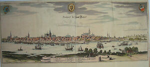 Hansestadt-Rostock-Warne-Mecklenburg-rechter-alter-Merian-Kupferstich-1653