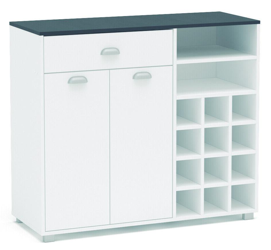 Detalles de Buffet cocina armario Asfeld con botellero blanco mueble auxiliar 101x90x40 cm