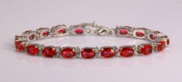 925 Sterlingsilber Rhodiniert Labor Erstellt Rubin & Diamant Tennis Armband