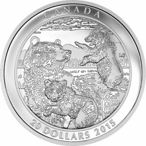 2015-RCM-034-GRIZZLY-BEAR-FAMILY-034-20-FINE-SILVER-COIN