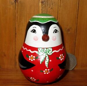 Penguin-Wobbly-doll-ROLY-POLY-Cute-Girl-signed-RUSSIAN-HAND-PAINTED-SMALL-GIFT
