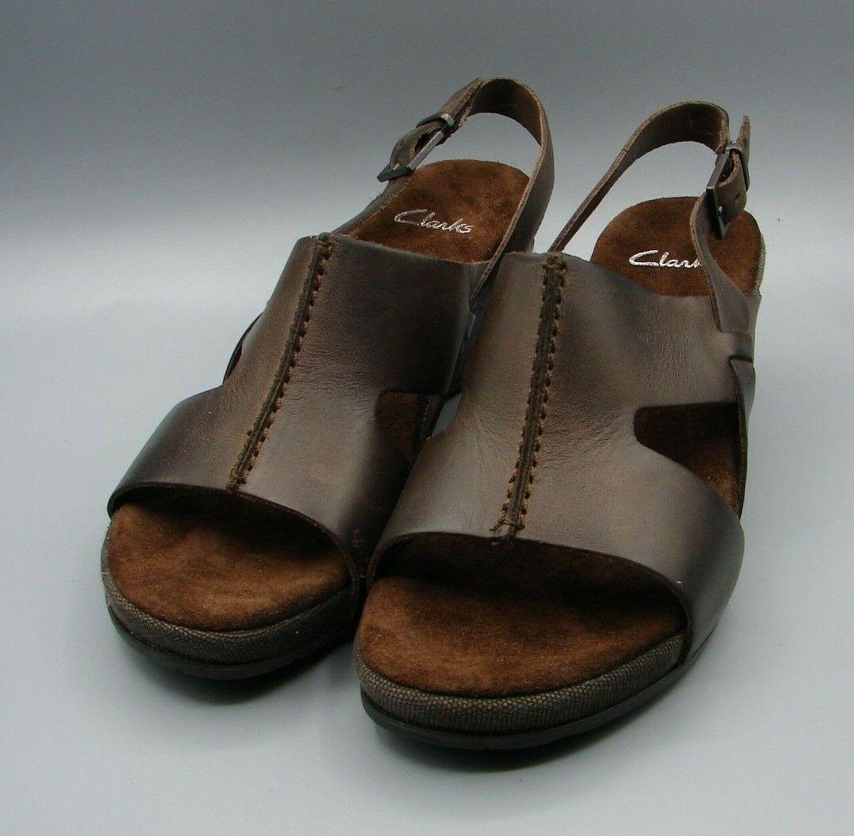 OLENA CLARA Clark's Women's Brown Leather Sandals size 3 D.