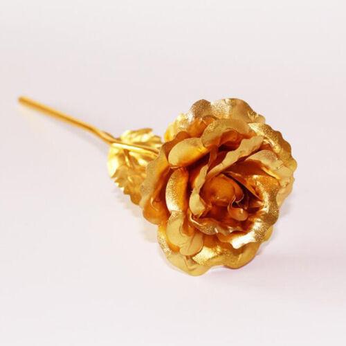 Reino Unido Chapado en Oro 24K Rosa Flor romántico Día De San Valentín Cumpleaños Regalo Novia