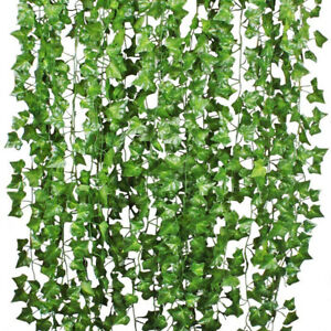 Am-24x-Artificial-Hanging-Plant-Leaf-Fake-Foliage-Ivy-Vine-Garland-Leaves-Wreat