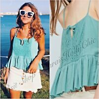 Green Embroidered Lace Frill Cami Top Mango Size S M 8 10 US 4 6 Zara Blogger ❤