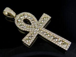 "14k Solid Men's Yellow Gold Egyptian Ankh Diamond Cross Charm Pendant 13.75Ct 3"""