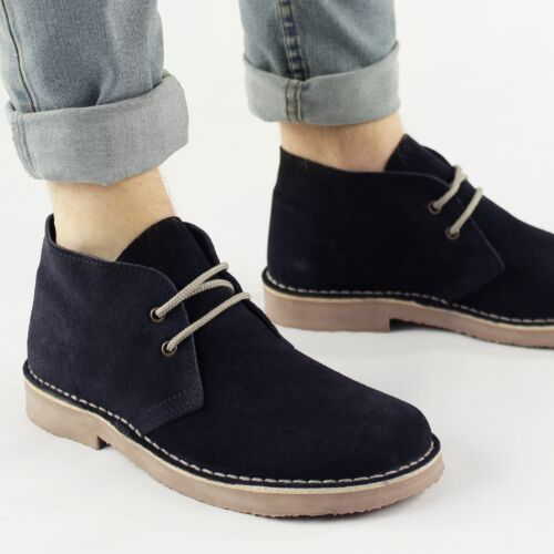 Roamers Mens Ladies Womens Suede Leather Round Toe Lace Up Desert Boots Navy New