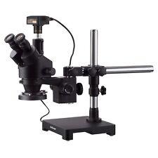 New Listingamscope 7x 90x Trinocular Stereo Zoom Microscope Boom Ring Light 10mp Camera
