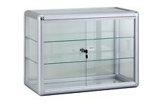 Showcase Glass Displays For Retail Stores Made Of Durable Aluminum Silver Frame