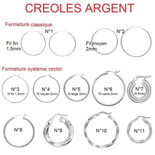 Boucles D/'Oreilles Créoles CLASSIQUE en  Argent  MODELE /& TAILLE au CHOIX NEUF