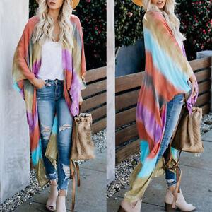 Women-Rainbow-Stripes-Loose-Kimono-Tops-Beach-Cover-Up-Cardigan-Blouse-Haihk