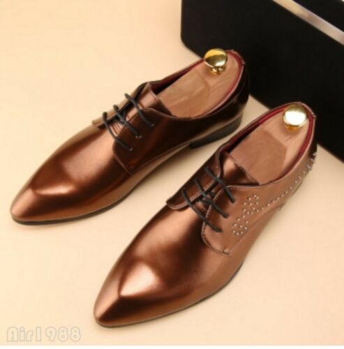 2018 Men/'s Slip On Pointed Toes Patent Leather Loafers Dress Formal Chic Shoes